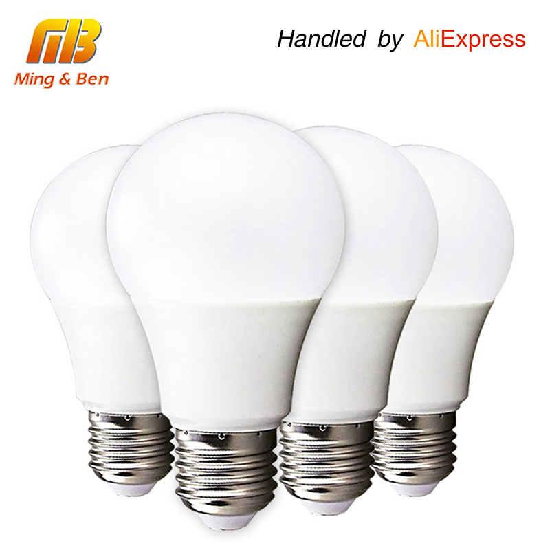 [MingBen] 4pcs LED Bulb Lamp E27 3W 5W 7W 9W 12W 15W 220V Cold White Warm White Lampada Ampoule Bombilla High Brightness Light led candle lights 2835smd candle bulb lamp high brightness 3w e27 e14 ac220v 110v cold white warm white led bulb lamp