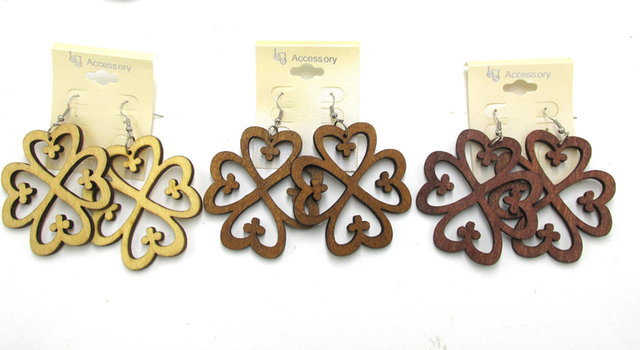 Free Shipping Adinkra Symbols Dangle Wood Earrings Can Mixed 3
