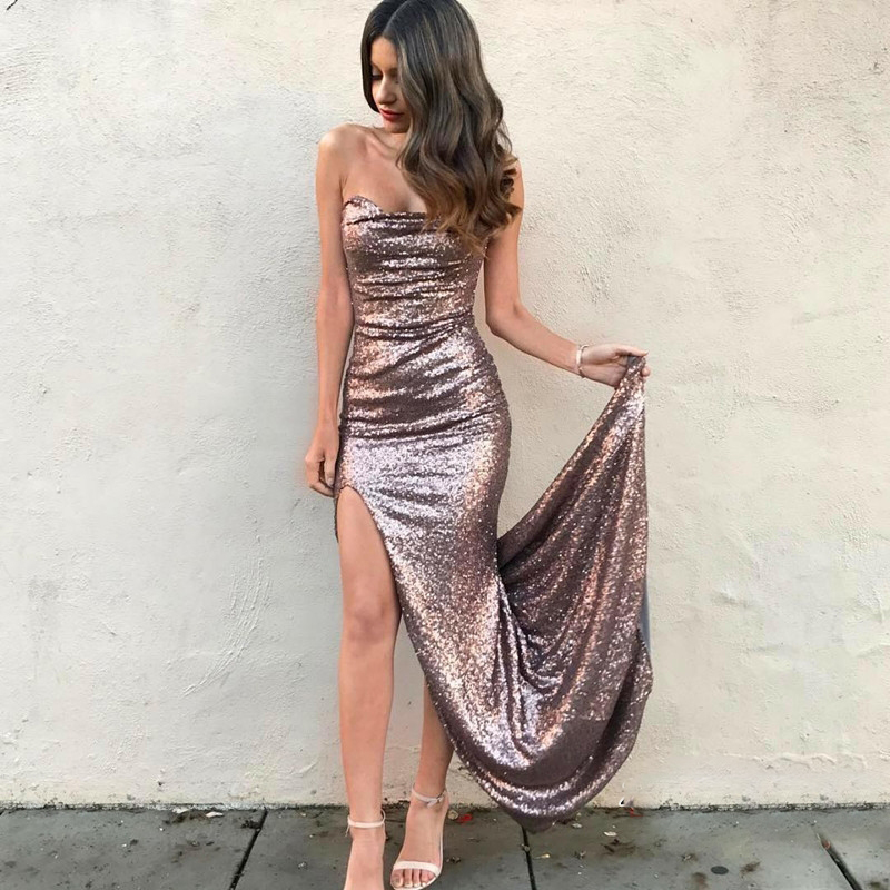 Sexy Sweetheart Backless Mermaid   Bridesmaid     Dresses   Simple Sequined Side Slit Women Prom   Dress   Vestido De Festa Prom Party Gowns