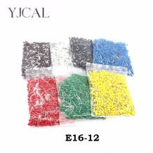 цена на E16-12 1000pcs Insulated Cord End Terminal Crimp Ferrules Crimping Terminals Tubular  Wire Connector For 0.75mm2