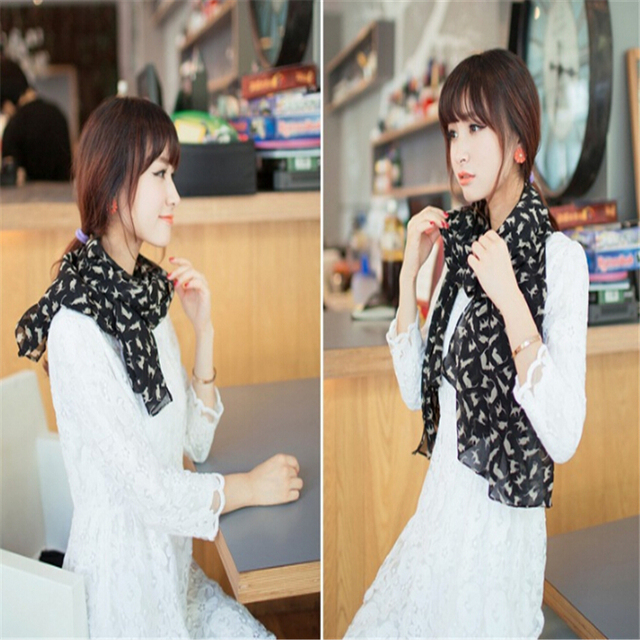 New Fashion Women's Chiffon Colorful Printed Sweet Cartoon Cat Kitten Scarf Graffiti Style Shawl Girls Christmas Gift 5