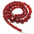 New fashion 6-14mm tower chain women necklace red jade jasper faceted round beauty gift weddings party jewelry 18inch B1493