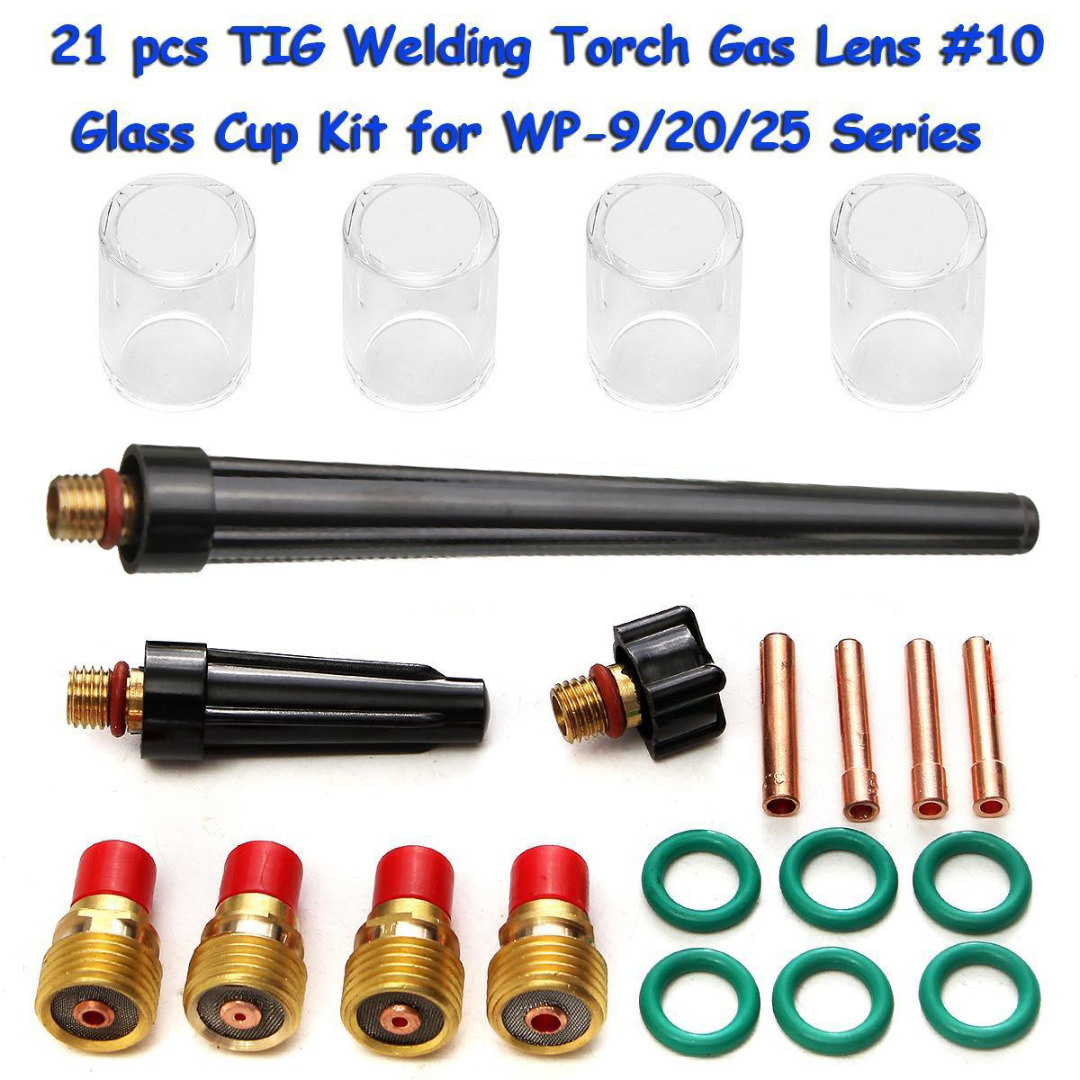 21pcs TIG Welding Torch Gas Lens Kit #10 Glass Pyrex Cup Kit For WP-9/20/25 Series Welding Gun Accessories  цены