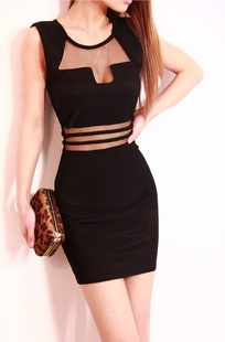2014 New Summer Thin Hot Sexy Girls Black Hollow Out Party Cloth Skeleton  Backless Lace Bodycon 959829401345