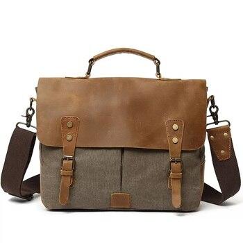Mens Messenger Bag 14 ''Casual Canvas Briefcase Large Satchel Handbag Male Shoulder Crossbody Bags Leather Computer Laptop Bag