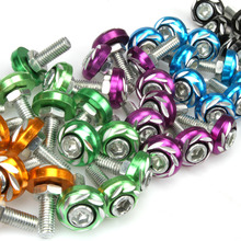 купить 5pcs 6mm Plate Screw+Bolt+Nut Aluminium Alloy License For Motorcycle/Electric car Colorful Auto Accessories Metal Red Blue дешево