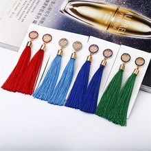 Fashion Earrings Explosion Models Tide Female Exaggerated Long Temperament Rose Flower Tassel Gift