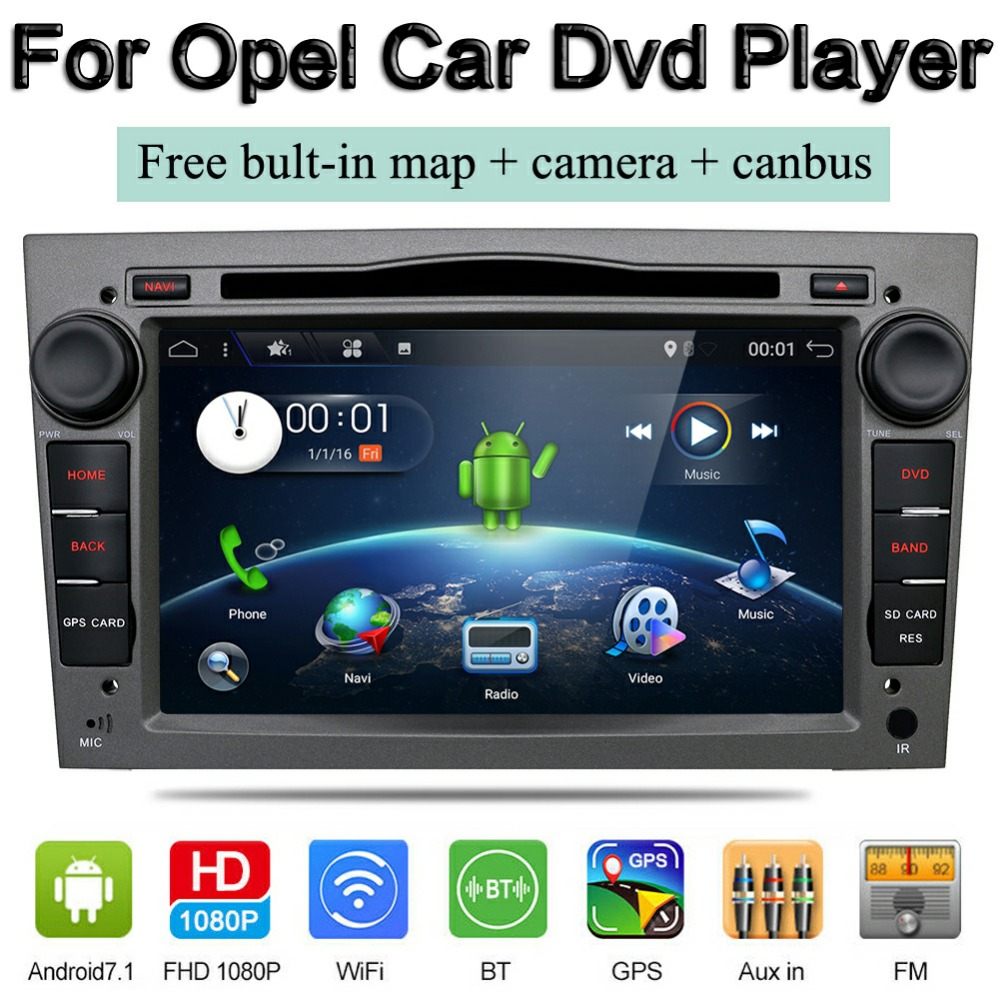 Bosion android 7 1 2din car radio gps navi car dvd player for opel astra vectra
