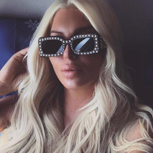 3ce9f0e146f Pop Age 2018 New Italy Brand Designer Clear Pink Square Sunglasses Pearl  Rihanna Sunglasses Luxury Pearl Frames lentes GG0146