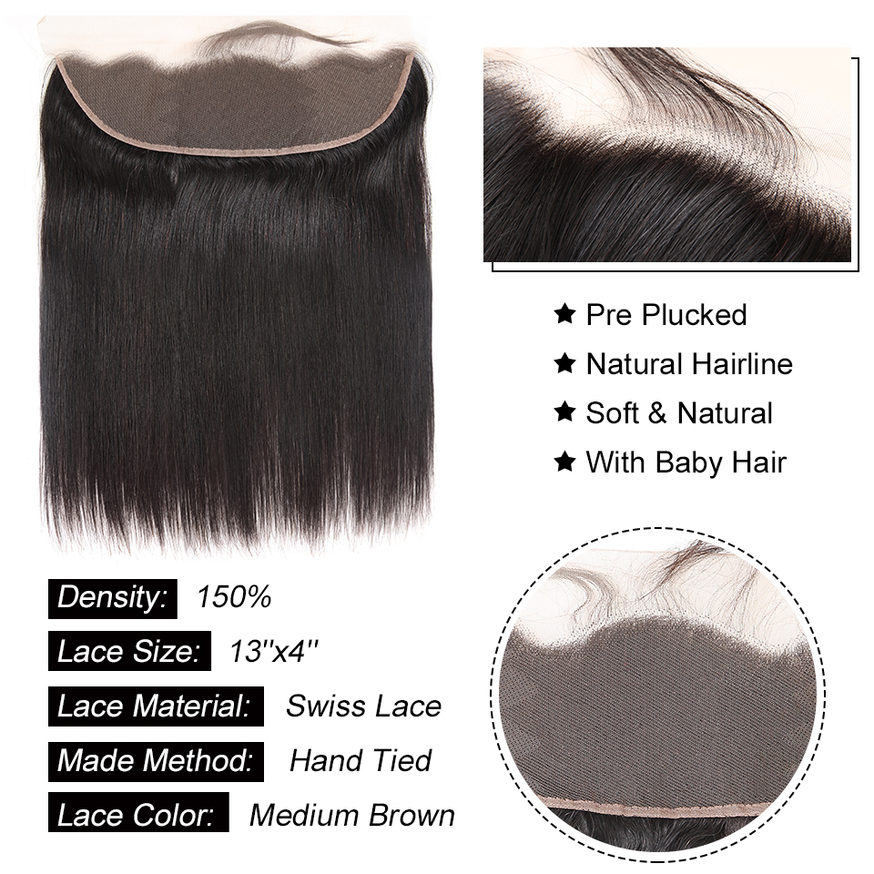 Brazilian Straight Human Hair Bundles With Lace Frontal Closure Pre Plucked 13x6 Lace Frontal With 3 Bundles Remy AliPearl Hair
