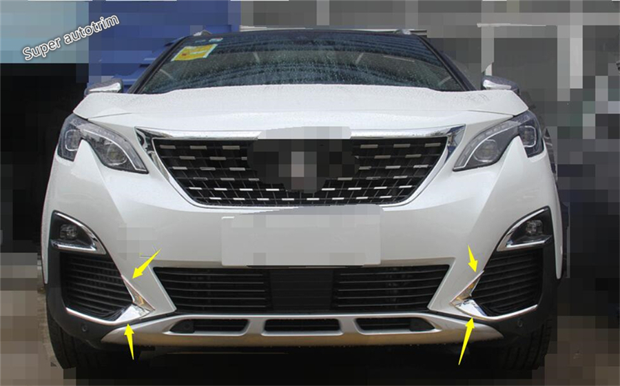 Lapetus For Peugeot 3008 3008GT 2017 2018 ABS Front Head Fog Light Foglight Lamp Eyelid Eyebrow Cover Trim 2 Pcs front bumper foglight decoration strip 2 pcs