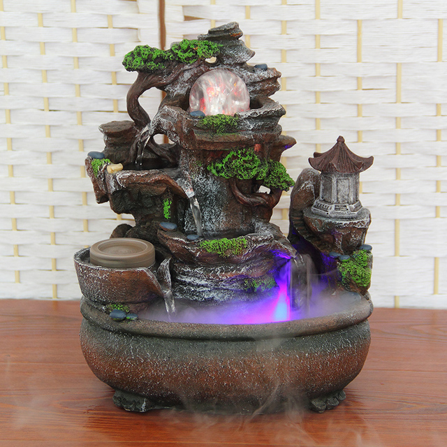 The Living Room Decoration Decoration Creative Home Furnishing Zhaocai  Rockery Water Fountain Fengshui Round Opened Gifts