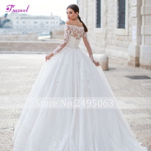 Image 4 - Fsuzwel Gorgeous Appliques Long Sleeve Boat Neck A Line Wedding Dress 2020 Luxury Sashes Beaded Princess Wedding Gowns Plus Size