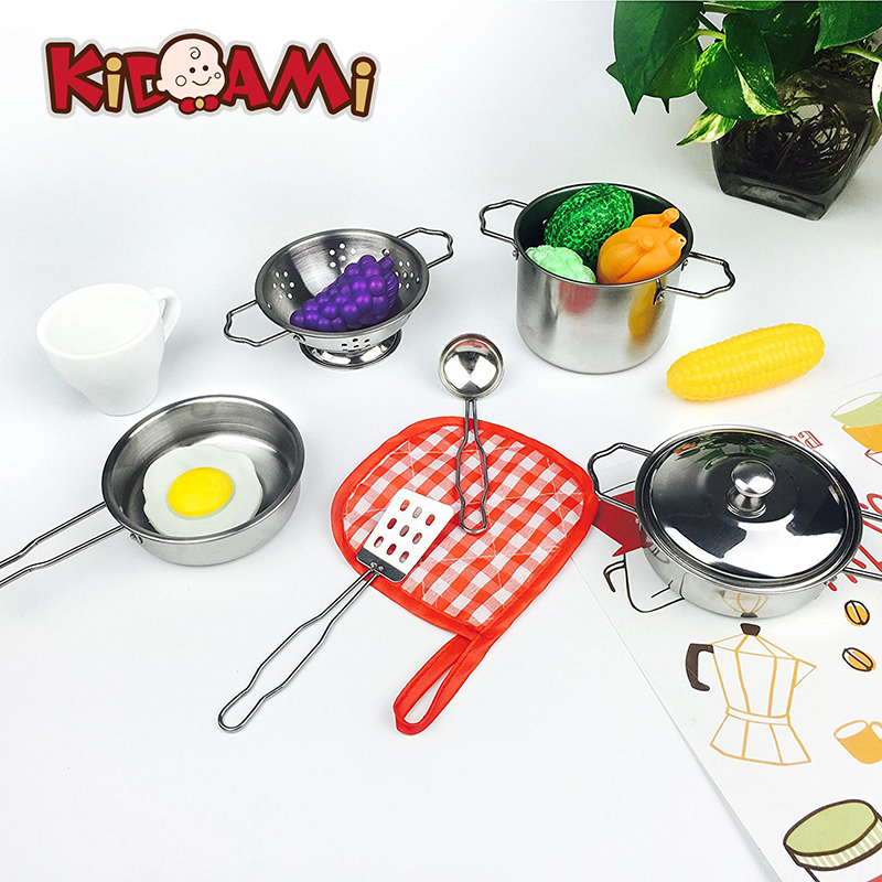 KIDAMI Kitchen Pretend Toys Stainless Steel Cookware Playset kids kitchen set toys for children girls toys educational toys