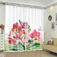 Customize Hotel 3D Blackout Curtains Colorful Butterfly Flower Pattern Thicken Polyester girl Bedroom for Living Room