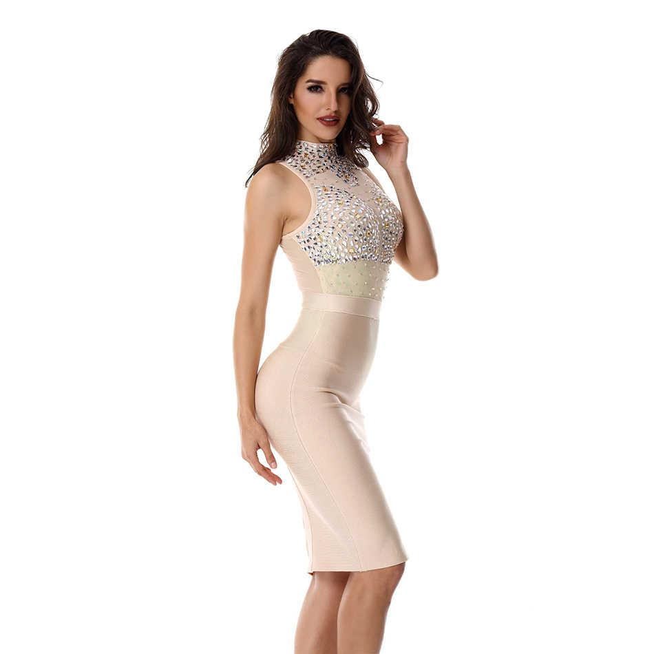 Женское вечернее платье с украшениями ADYCE, телесного цвета, облегающее кружевное платье без рукавов, красное платье в стиле звезд, для клуба, для лета, 2019