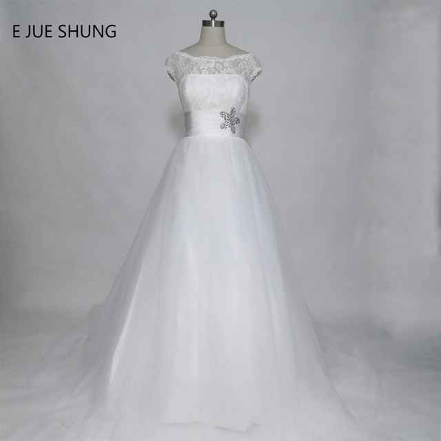 E JUE SHUNG Vintage Lace Ball Gown Wedding Dresses Cap Sleeves ...