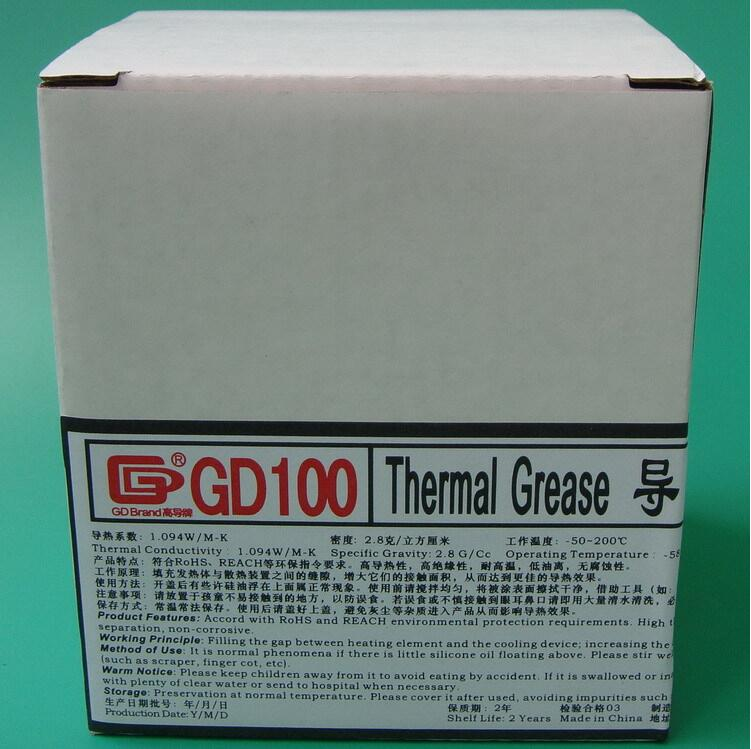 High conductivity GD100 thermal grease silicone cooling gel white net weight 1 kg large can