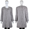 YR146A Curly Lamb Hand Knitted Fur Coat Gray Black color Factory Directsale