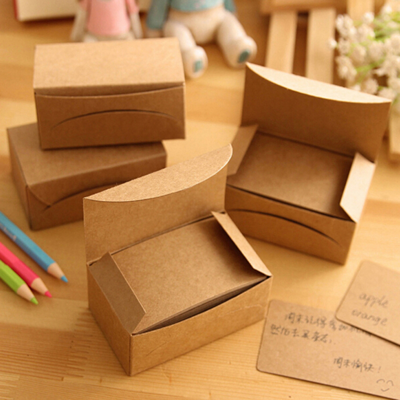 200 Sheets/2 Boxes/2 Sets Vintage Kraft Paper Cards Notes Notepad Filofax Memo Pads Office Supplies School Office Stationery