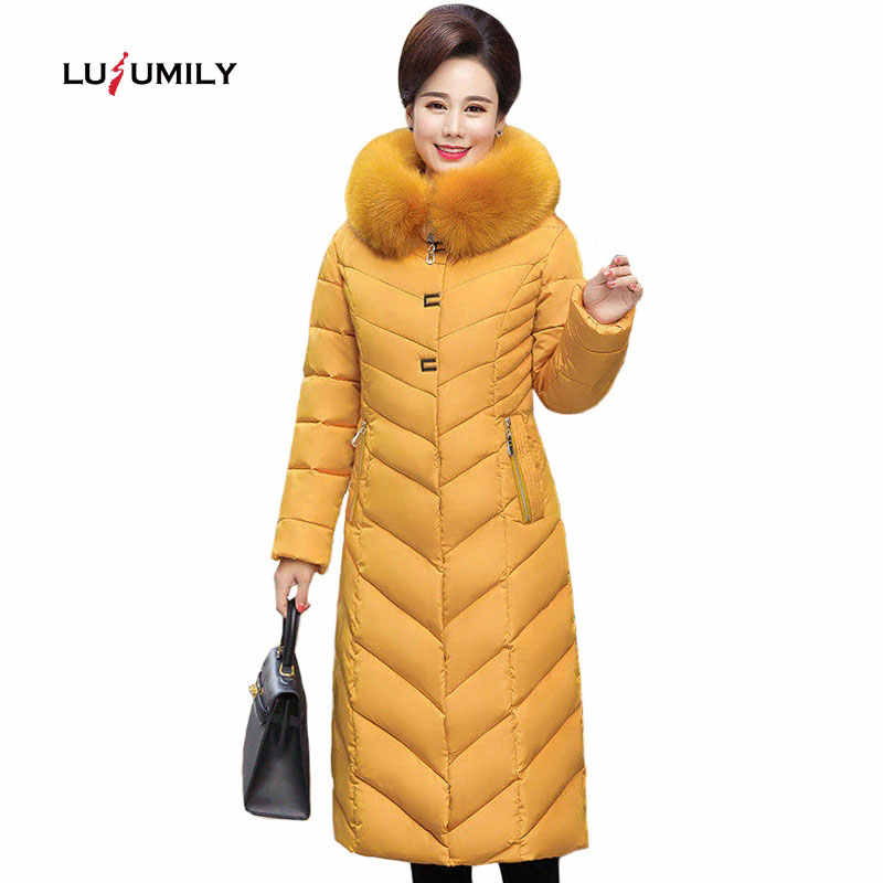 Lusumily New Winter Coat Women X-Long Plus Size 5XL Thick Fur Collar Winter Down Jacket Women Long Parkas Cotton Hooded Outerwea
