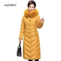 Lusumily New Winter Coat Women X Long Plus Size 5XL Thick Fur Collar Winter Down Jacket Women Long Parkas Cotton Hooded Outerwea