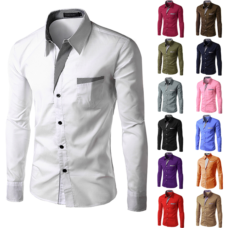 Promotion 2016 new fashion men shirts long sleeve cotton for French cuff slim fit dress shirt