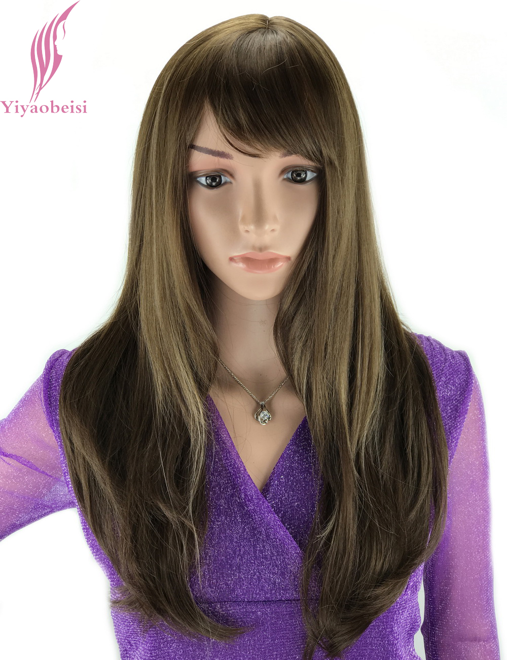 Yiyaobess 20inch U Part African American Long Straight Wig For Women Heat Resistant Synthetic Blonde Brown Highlights On Hair