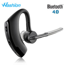 Washion V8 Business Bluetooth Headset Wireless Stereo Headphone Car Earphone Handsfree Noise Canceling Voice Control Ear Hook