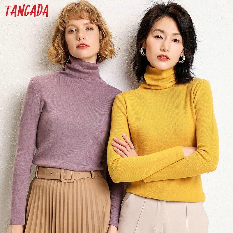 Женский Однотонный свитер с высоким воротом Tangada, Зимний Элегантный джемпер с длинным рукавом, AQJ02