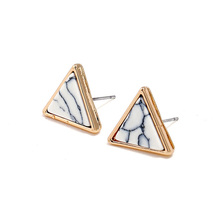 Godzgift Females Inlaid Stone Earrings Ornaments Fashion Triangle Wedding Valentines Studs Jewelry Gifts For Women Modern JE5094