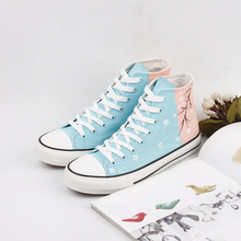 купить 2019 Shoes Women Spring Autumn Hand-painted Sky-Blue Canvas Sneakers New Designer High-top Flat Fashion Casual Lace-up Shoes по цене 1752.25 рублей