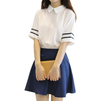 7c30329dd8 Short Sleeves Japanese School Uniform Girl Sailor Dress Tibetan Blue Plaid  Skirt Uniformes Korean Costumes For