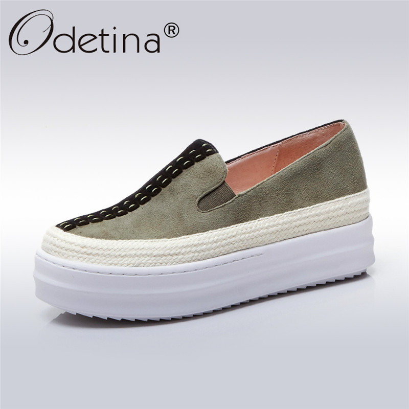 Odetina 2017 New Genuine Leather Platform Loafers Casual Fashion Womens Slip On Flats Casual Shoes Comfort Creepers Big Size 43 hot 2017 new fashion womens weave shoes spring summer mixed color breathable casual shoes flats slip on loafers tenis feminino