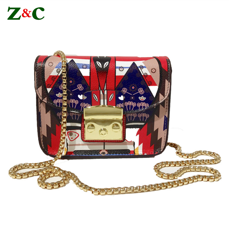 12 Color Famous Italy Brand Women Flap Bag Luxury Lolita Style Graffiti Print Shoulder Bag Design Lady Chain Lock Messegner Bags figure print chain bag