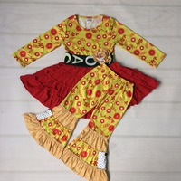 Mustard Pie Girl Remake Yellow Red Ruffle Floral Dress Legging Baby 2 Pcs Clothes Wholesale Children