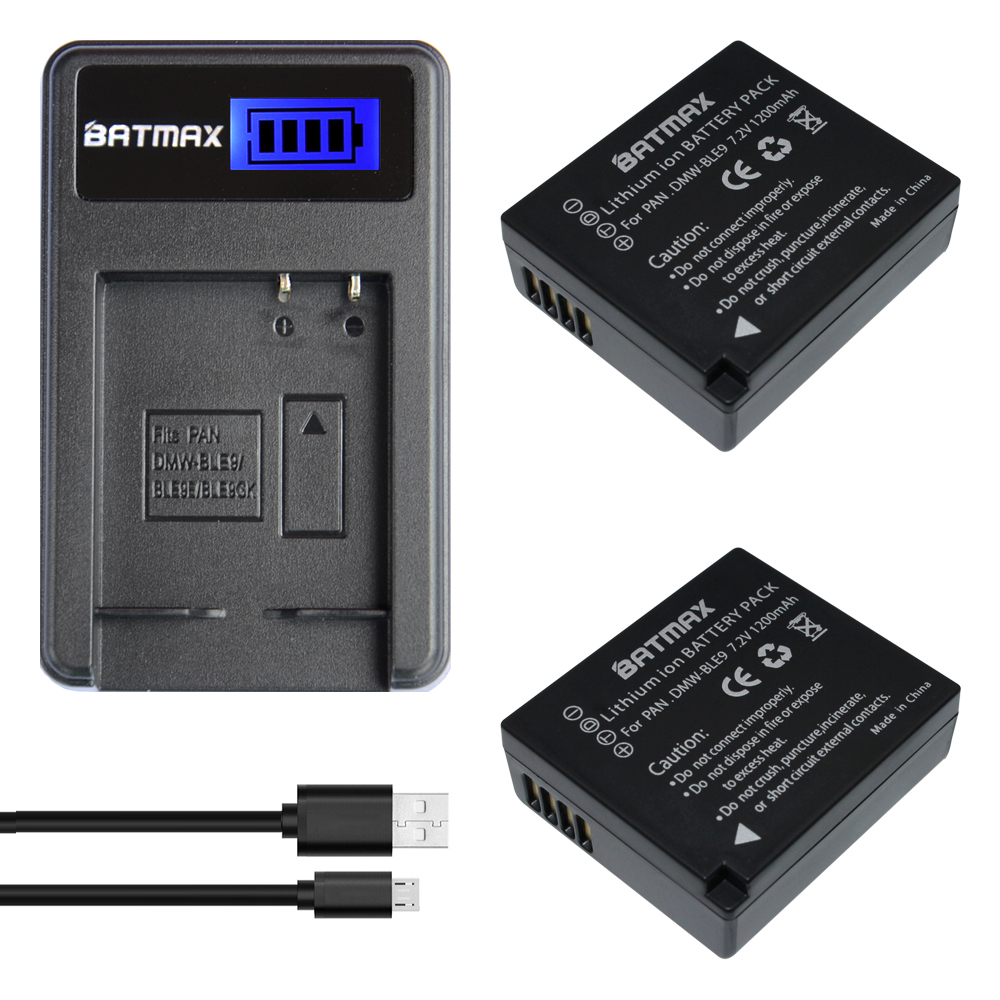 2Pc DMW-BLG10 BLG10 BP-DC15 BPDC15 Batteries+LCD Charger for Panasonic Lumix GF6,GX7,GX80,GX85,GX7 Mark II,LX100,D-Lux(Type 109)
