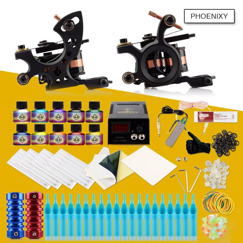 Complète dermographe Ensemble 2 Guns 10 Encres boîtier d'alimentation Aiguilles Approvisionnement Grip Accessoires maquillage permanent De Tatouage Professionnel Kit
