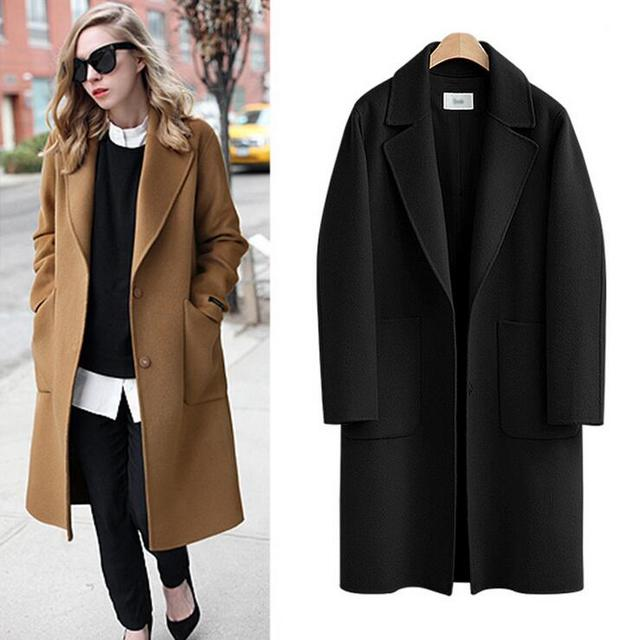 a5a4057960b 5XL Plus Size Wool Coat 2016 Autumn Winter Casual Long Coats Loose Thick  Warm Outerwear With