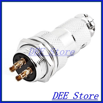 16mm 4-pin GX16-4 Male Female Wire Panel Power Chassis Aviation Plug Silver Tone 2 set lot neutrik powercon type a nac3fca nac3mpa 1 chassis plug panel adapter