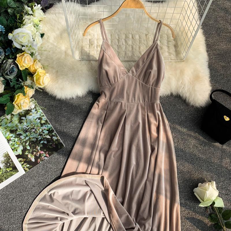 Apricot Vintage Sleeveless Knee Length Velvet Dress 3