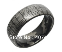 Free Shipping USA Hot Selling E&C JEWELRY Unique 8MM New Black Tungsten Ring Surface and Inside Engraved Men's Ring Size 6 to 13