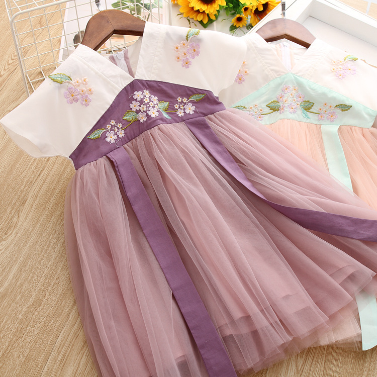 5289 Chinese Floral Embroidery Princess Baby Girl Dress 2019 New Summer Party Kids Dresses For Girls Wholesale Baby Girl Clothes