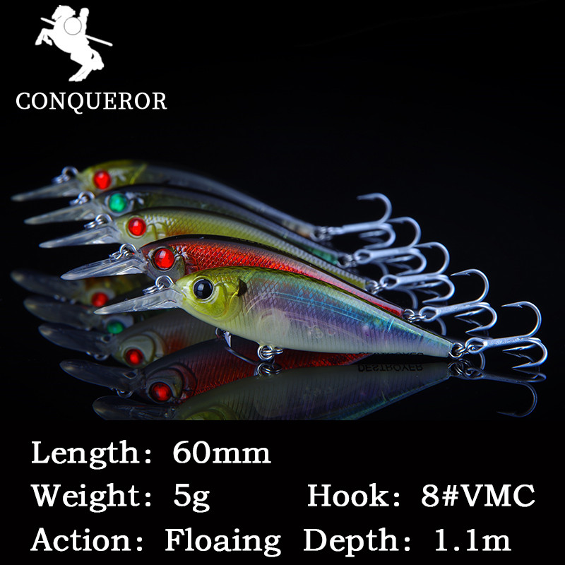 Conqueror 1 Pcs Crank Bait Fishing Lures With VMC Hooks Minnow Bass Fishing Lures Artificial Bait mini lure 5g/60mm allblue slugger 65sp professional 3d shad fishing lure 65mm 6 5g suspend wobbler minnow 0 5 1 2m bass pike bait fishing tackle