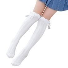 2019  Fashion Girls Socks Toddlers Solid Color School Knee High Cotton 3-12Y Kids Bow Decoration Warmer