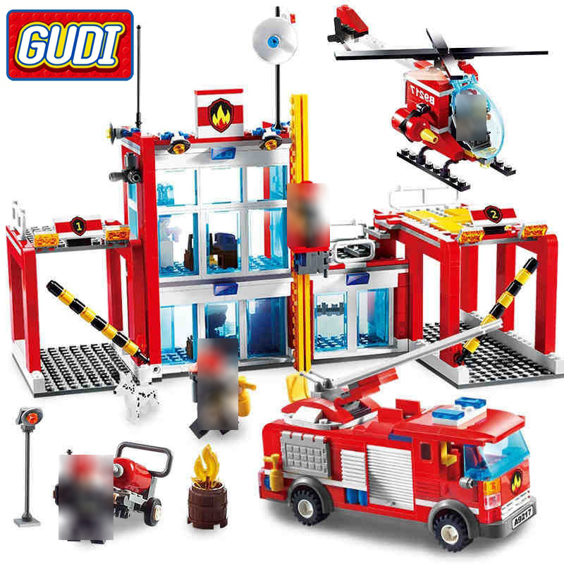City GUDI Fire Department 874 Pcs Mini Bricks Single Sale Firefighting Assemble Building Block Set Toy For Kids
