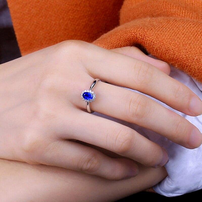 Genuíno 0.5ct aaa anel de safira natural 0.16ctw verdadeiro diamante 14kt ouro branco design simples para a menina aniversário jóias por atacado - 5