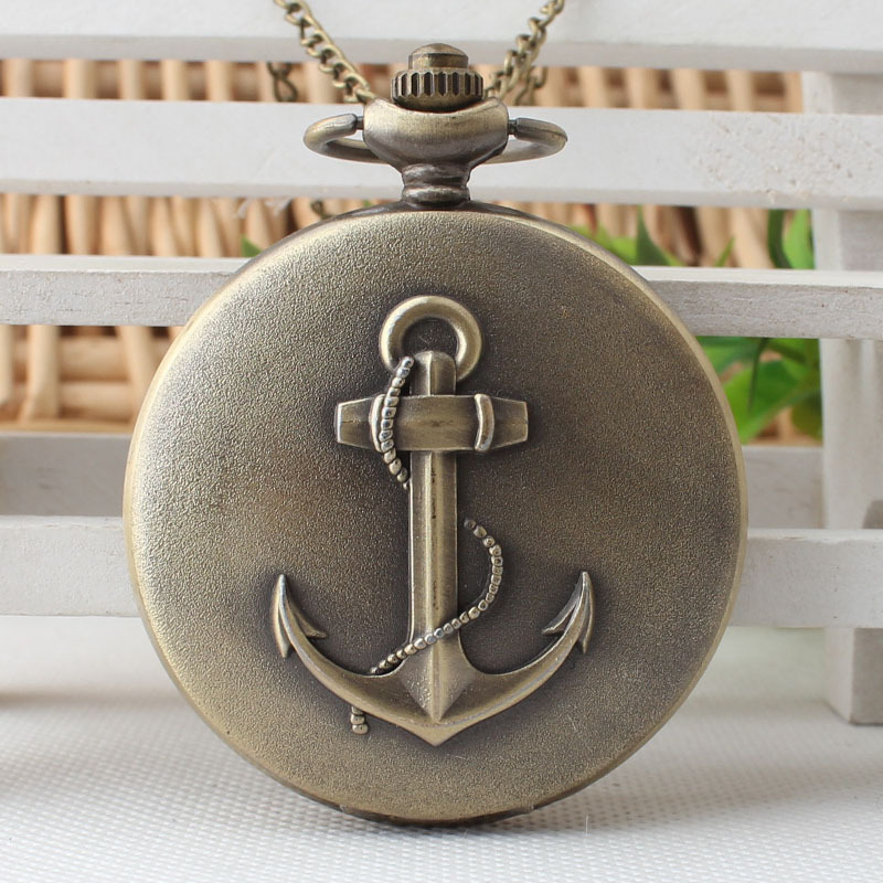 Retro Sailing Quartz Pocket Watch Anchor Pattern For Foremast Hand Marine Antique Necklace Chain Casual Men Watches Gift XH3013