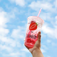 Sommer Kaltes Getränk Tasse Bequem Doppel Kreative Mit Deckel Plastikbecher Studenten Erwachsene Saug Eis Cup DIY Eis Trinken Liefert