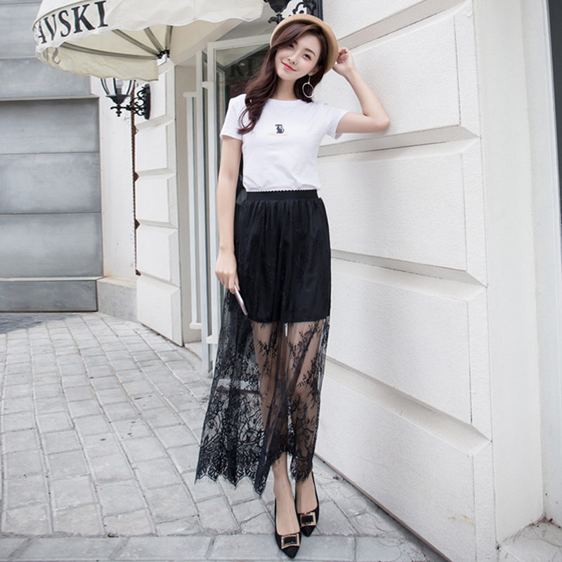 Autumn Spring Sexy Hollow Mesh Skirts Womens Elastic High Waist Tulle Skirt Long Skirt Female Jupe Longue Black White